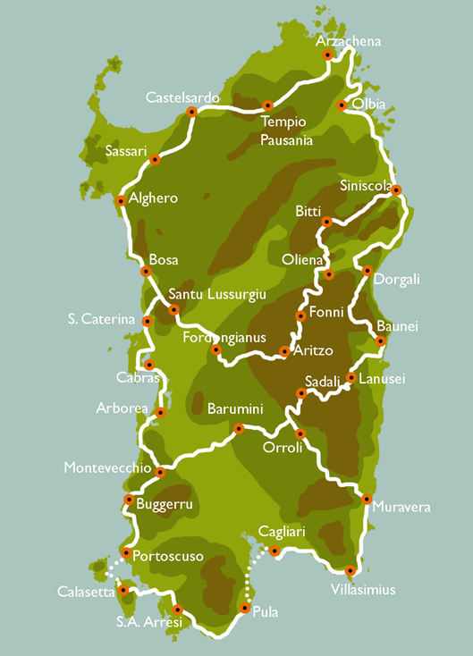 the project of a network for the cycle tourism in Sardinia