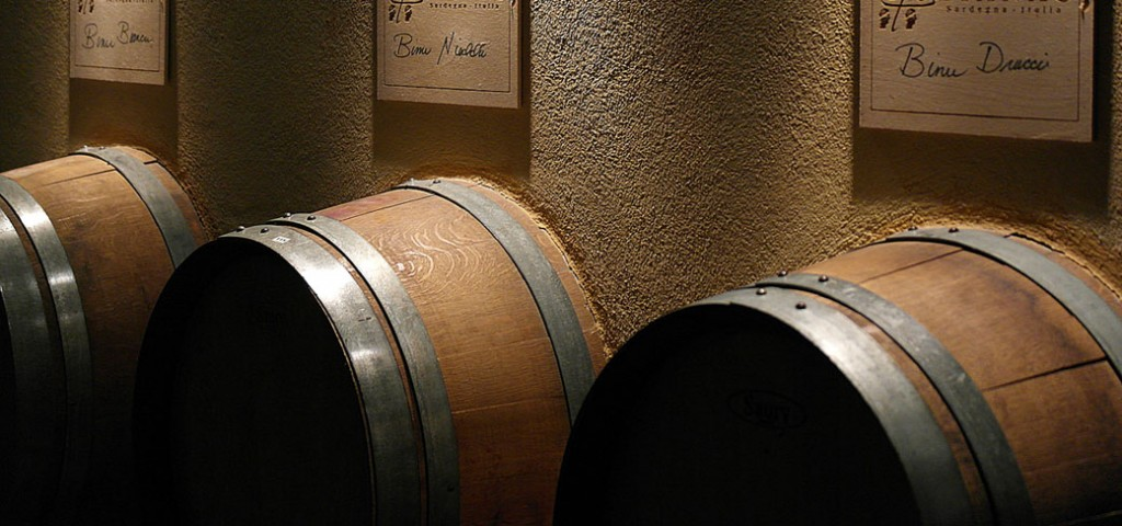 wine in wooden barrels from Sardinia